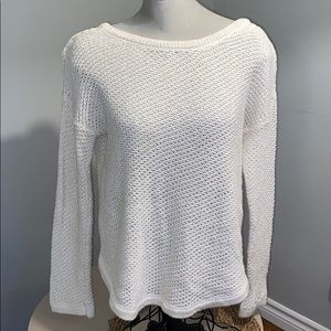 Open knit cream sweater with tie up back